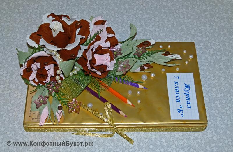 Шоколадка с конфетными цветами