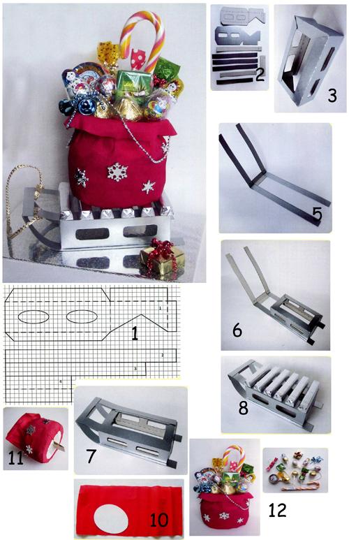 Конфетные санки с подарками