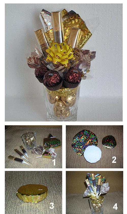 Коричнево - золотистая конфетная композиция (осенний конфетный букет)